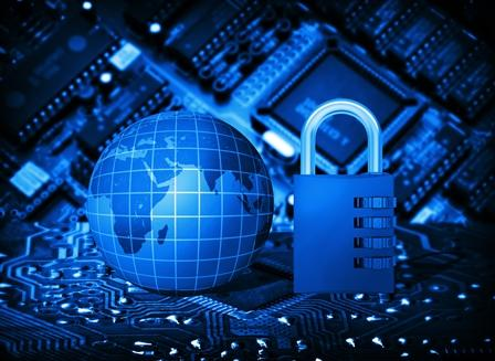 Futuristic integrated circuit, code lock and globe